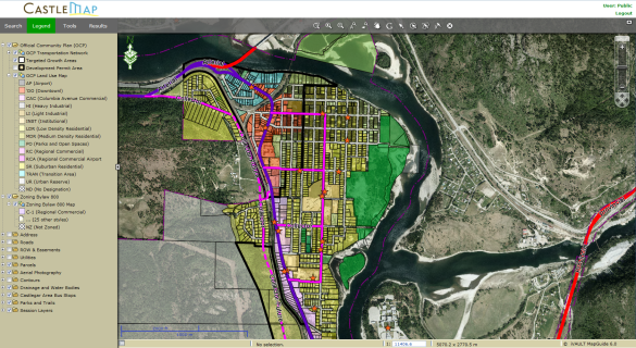 City of Castlegar Online GIS Tool 'Castle Maps'